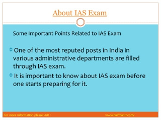 some points About IAS Exam