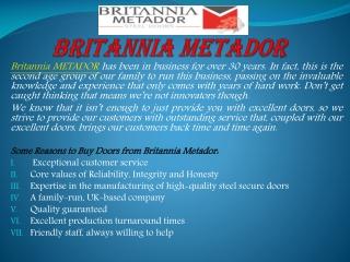 Best door frames in UK by the Britannia Metador