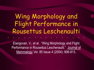 Wing Morphology and Flight Performance in Rousettus Leschenaulti