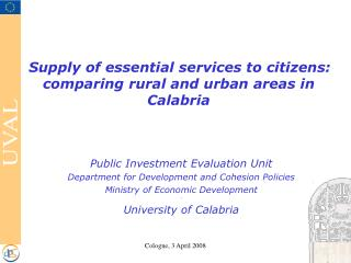 Supply of essential services to citizens: comparing rural and urban areas in Calabria
