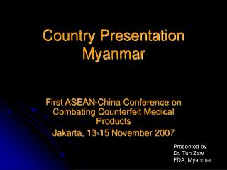 Country Presentation Myanmar