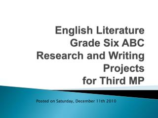 English Literature Grade Six ABC Research and Writing Projects for Third MP