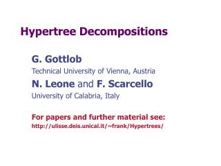Hypertree Decompositions