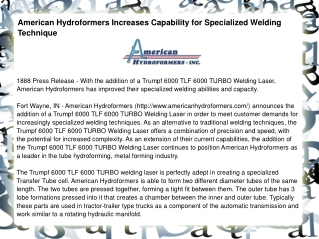 American Hydroformers Increases Capability for Specialized