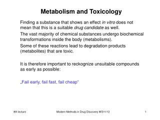 Metabolism and Toxicology