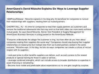 AmeriQuest's David Nitzsche Explains Six Ways to Leverage