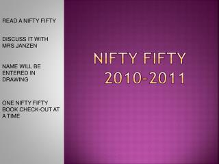 NIFTY FIFTY 2010-2011