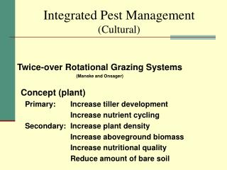 Integrated Pest Management (Cultural)