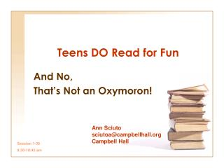 Teens DO Read for Fun