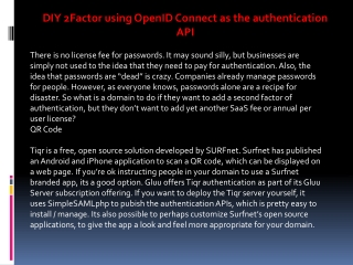 DIY 2Factor using OpenID Connect as the authentication API