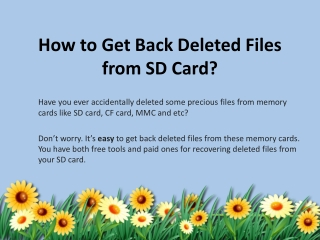 How to Restore Deleted Files from SD Card Freely