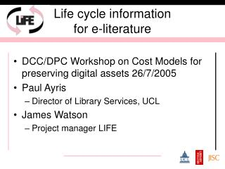 Life cycle information  for e-literature