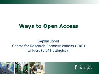 Ways to Open Access