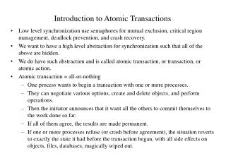 Introduction to Atomic Transactions