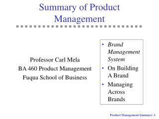 Summary of Product Management