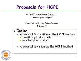 Proposals for HOPI