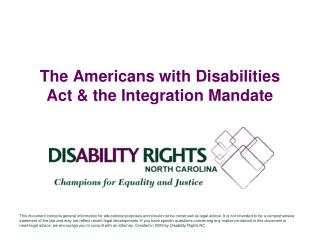The Americans with Disabilities Act & the Integration Mandate