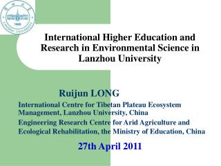 International Higher Education and Research in Environmental Science in Lanzhou University