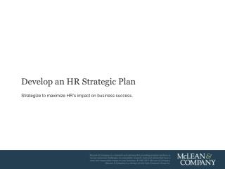 Develop an HR Strategic Plan