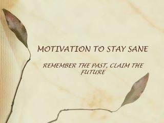 MOTIVATION TO STAY SANE REMEMBER THE PAST, CLAIM THE FUTURE