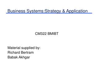 Business Systems:Strategy & Application