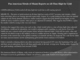 pan american metals of miami reports on all-time high for go