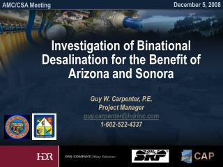 Investigation of Binational Desalination for the Benefit of Arizona and Sonora