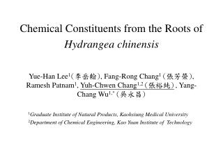 Chemical Constituents from the Roots of Hydrangea chinensis