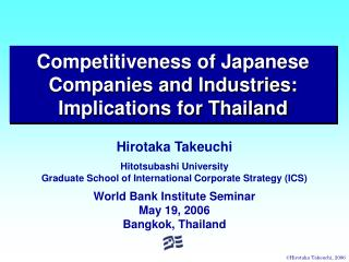 Competitiveness of Japanese Companies and Industries: Implications for Thailand