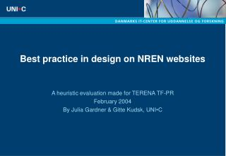 Best practice in design on NREN websites