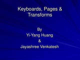 Keyboards, Pages