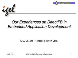 Our Experiences on DirectFB in Embedded Application Development