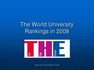The World University Rankings in 2008