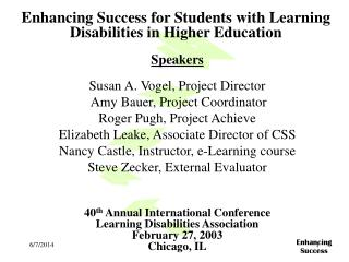 Enhancing Success for Students with Learning Disabilities in Higher Education