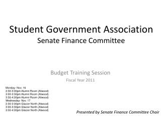 Student Government Association Senate Finance Committee