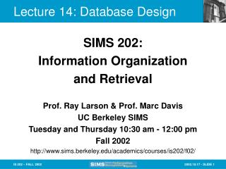 Lecture 14: Database Design