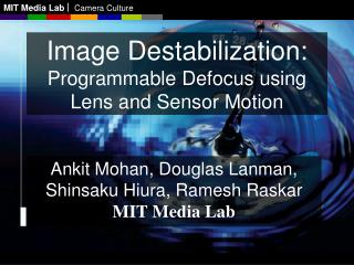 Image Destabilization: Programmable Defocus using Lens and Sensor Motion