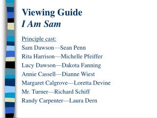 Viewing Guide I Am Sam
