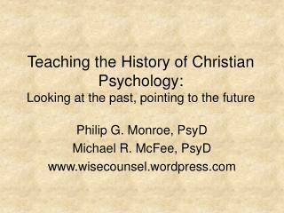 Teaching the History of Christian Psychology: Looking at the past, pointing to the future