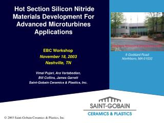 Hot Section Silicon Nitride Materials Development For Advanced Microturbines Applications
