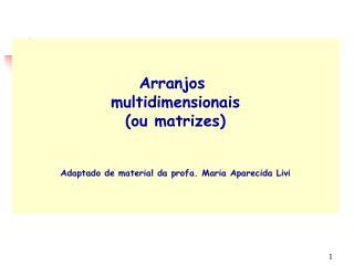 Arranjos multidimensionais (ou matrizes) Adaptado de material da profa. Maria Aparecida Livi