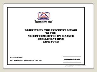 general budget growthmoqhaka local municipality budget presentation