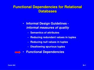 Functional Dependencies for Relational Databases