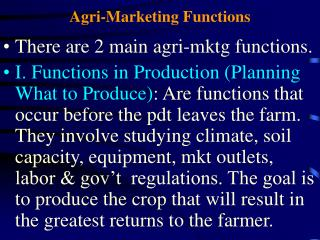 Agri-Marketing Functions