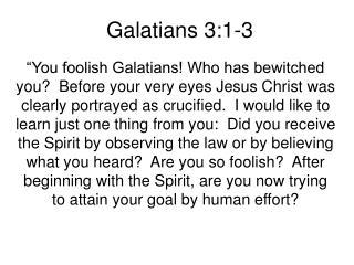 Galatians 3:1-3