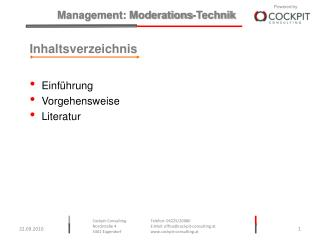 Inhaltsverzeichnis Einführung Vorgehensweise Literatur