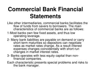 Commercial Bank Financial Statements