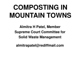 COMPOSTING IN  MOUNTAIN TOWNS