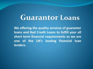 Guarantor Loan UK