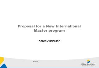Proposal for a New International  Master program
